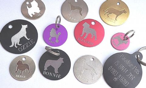 Personalised Dog ID Tag Engraved - ANY BREED AVAILABLE IN 3 SIZES & 9 COLOURS